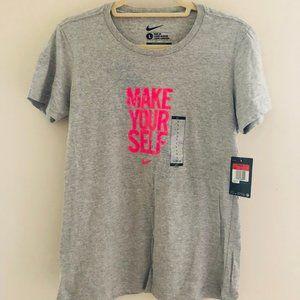 NIKE Slim Fit SS Grey Graphic Shirt L NWT